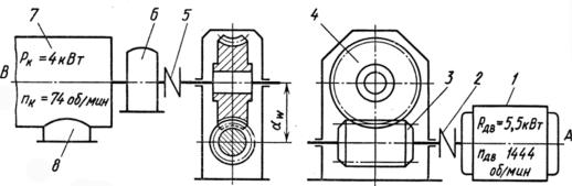 привод винтового конвейера с червячным редуктором