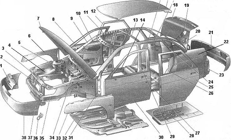 Детали кузова легкового автомобиля марки «ВАЗ»
